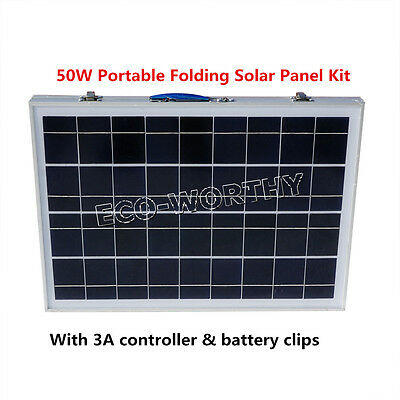 2*25Watts Portable Folding PV Solar Panel System 12V Outdoor Power Supply