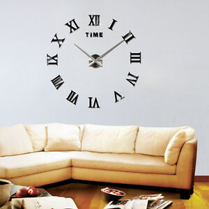 Image Is Loading NEW Modern 3D Mirror DIY Large Wall Clock