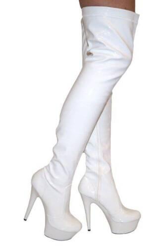 Erosella Angie 02 bianco brevetto PU stretch coscia alta Stivali Taglia UK 6 EU 39