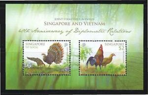 SINGAPORE-2013-VIETNAM-JOINT-ISSUE-PEACOCK-SHEETLET-OF-2-STAMPS-IN-MINT-MNH