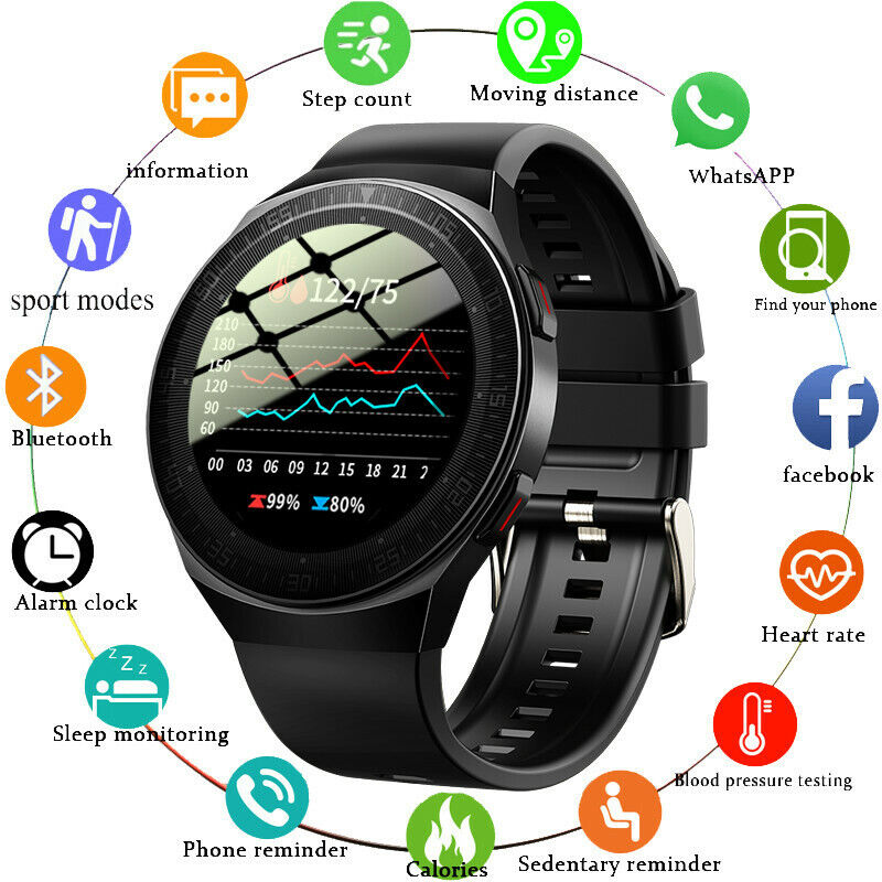 Smart Watch Heart Rate Blood Pressure Oxygen Monitor Bluetooth-Calls w/ Speaker