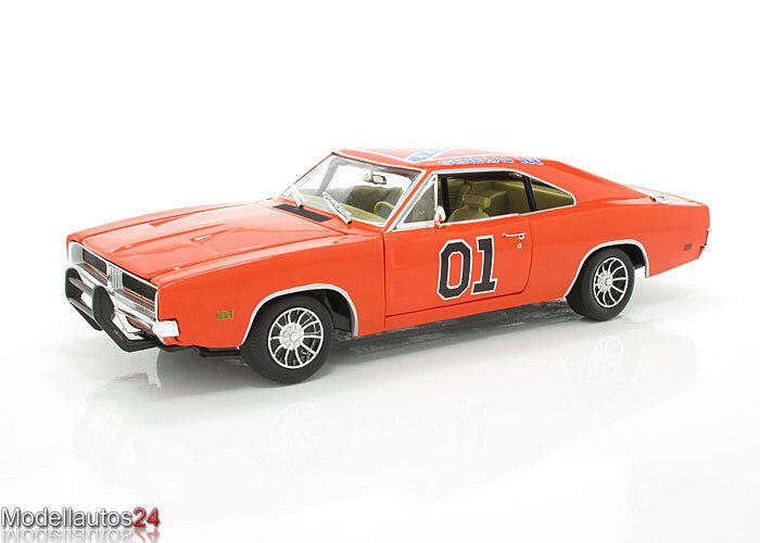 Auto World ertl maqueta de coche 1969 Dodge Charger, Dukes general lee, escala 1 18