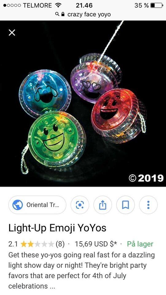 Andet legetøj, Nye yoyo med lys, Crazy Face