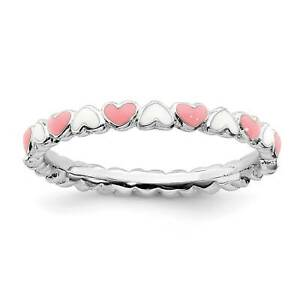 925-Silver-Rhodium-Plated-Pink-amp-White-Enamel-Heart-Stackable-Ring-Sz-5-10