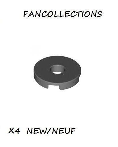 LEGO x 4 Round 2x2 with Hole Dark Bluish Gray Tile 15535 NEUF
