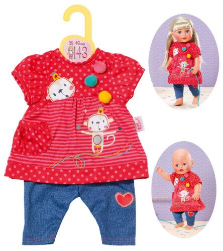 Puppen & Zubehör Zapf Creation Dolly Moda Hängerchen mit Hose 43 cm Rot-Blau