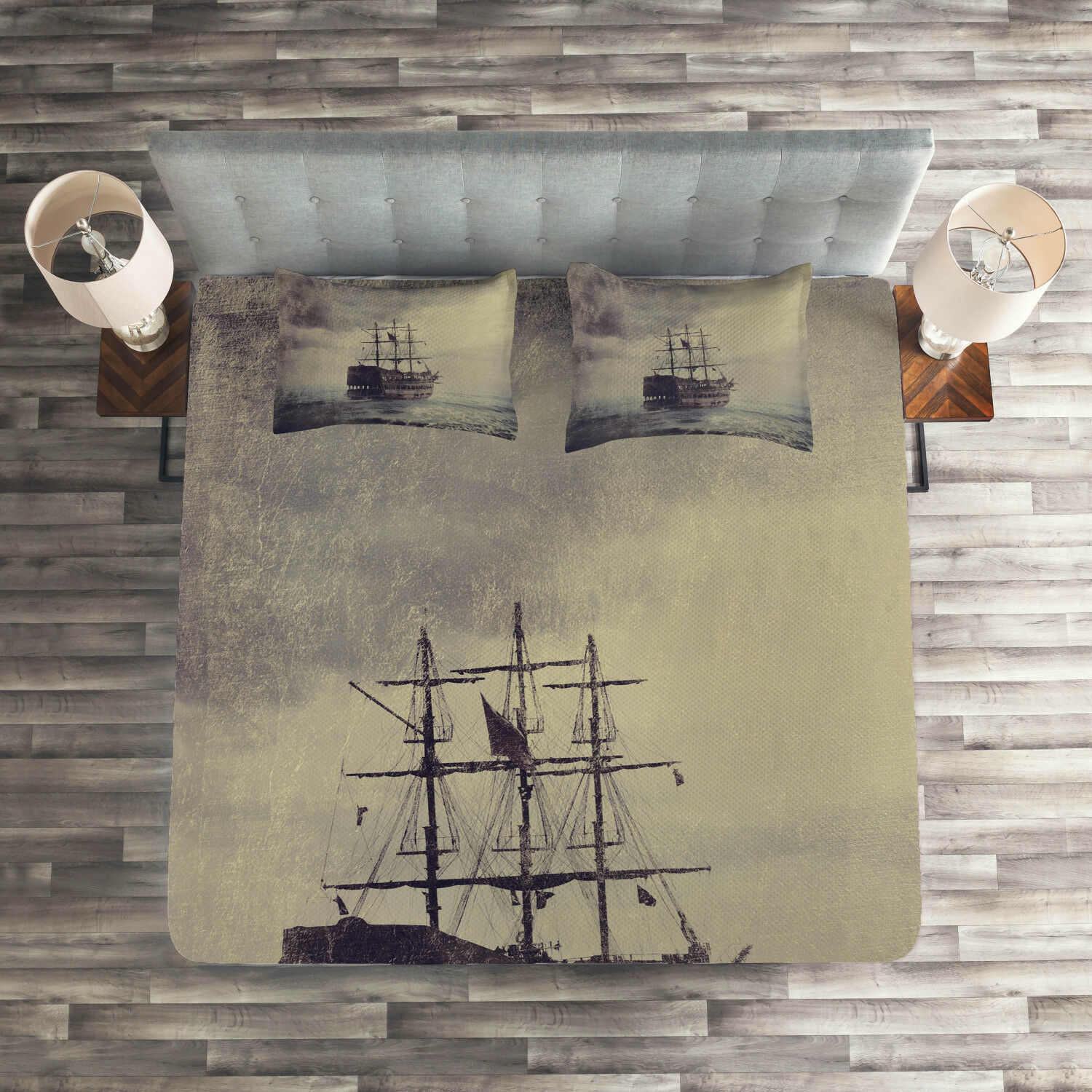 Nautical Quilted Coverlet & Pillow Shams Set, Old Pirate Ship in Sea Print