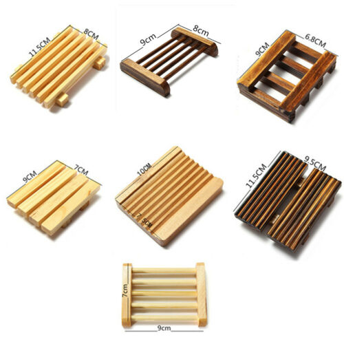 2Pcs Natural Wood Bamboo Soap Holder Dish Bathroom Shower Plate Stand Storage US