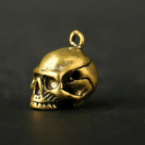 Brass-Skull-Skeleton-Pendant-Small-Statue-Pocket-Gift-Micro-Carving-Collectable