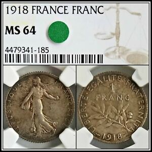 1918-Silver-France-Franc-NGC-MS64-Choice-Unc-Vintage-French-Classic-Coin