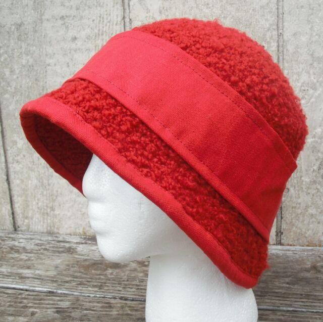 Stunning Larger Size Red Crocheted 1920's Cloche - Handmade by Michaela