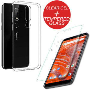 new arrival 35f5a 8da06 Details about For Nokia 3.1 Plus Plain Shockproof Clear TPU Gel Case Cover  + Tempered Glass