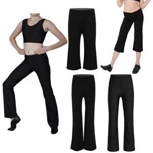 Girls-Boys-Classic-Boot-Cut-Jazz-Pants-Lycra-Spandex-Gymnstics-Dance-Trousers