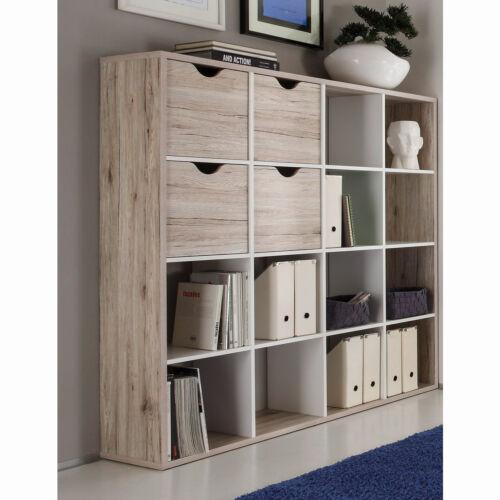 Raumteiler 2 Quadro Bücherregal in Sandeiche und weiß 16 Fächer inkl 4 Körbe