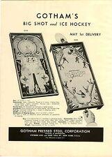 1946 PAPER AD 2 Sided Gotham's Ice Hockey Board Game Big Shot Doll Buggy