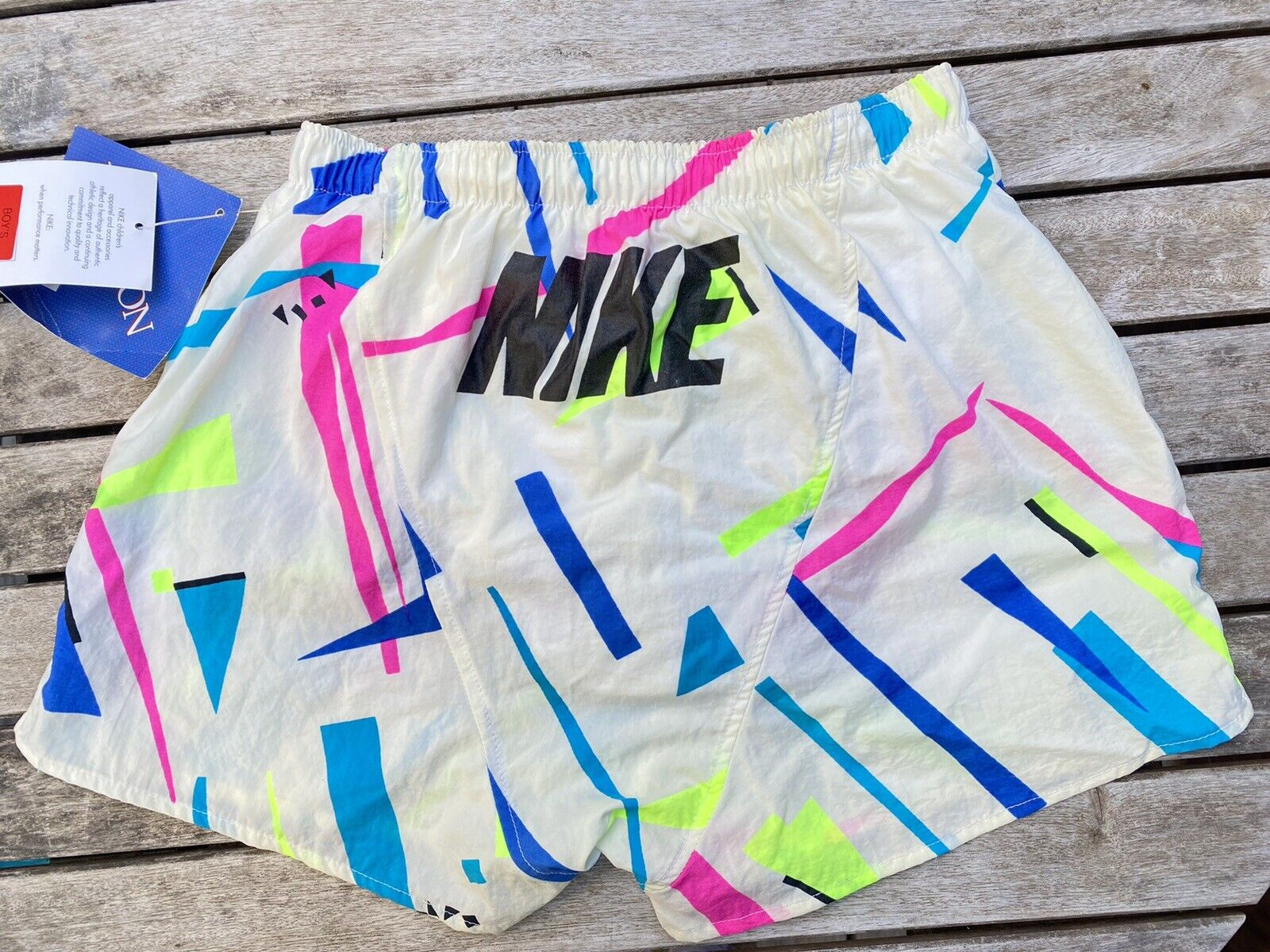 Vintage Nike Nikelon Neon Geometric Color Block Short Shorts Liner Underwear