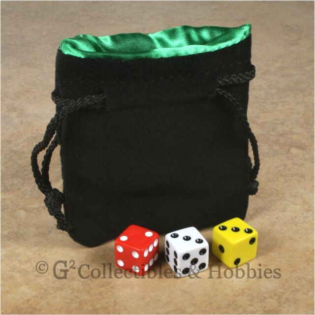 NEW Small Black Velvet RPG Dice Bag with GREEN Satin Lining D&D Counter Pouch