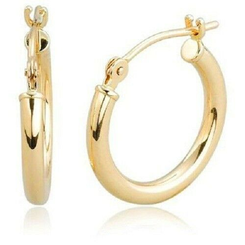 REAL 14K Yellow gold Round Polished Shiny Hoop Earrings ONE PAIR 2mmX 12.7mm