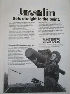 1-1986 PUB SHORTS JAVELIN ANTI AIRCRAFT GUIDED MISSILE BRITISH ARMY ORIGINAL AD aFbrHgqE-09102239-708530926