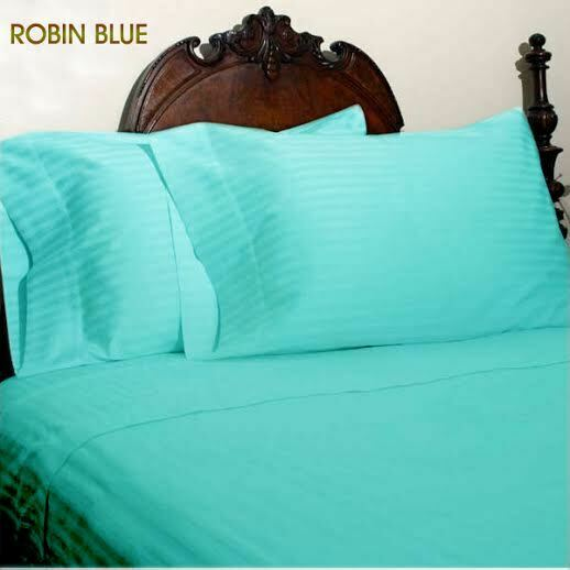 Robin bluee Stripe Sheet Set Choose Sizes 1000 Thread Count Pure Egyptian Cotton