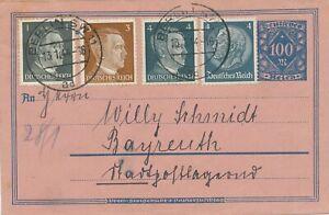 DEUTSCHES-REICH-1944-100-M-30-M-Rohrpostumschlag-als-Briefumschlag-genutzt
