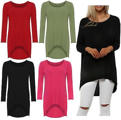 Womens Ladies Oversized Baggy Stretchy Off Shoulder High Low Dip Hem Tops 8-26