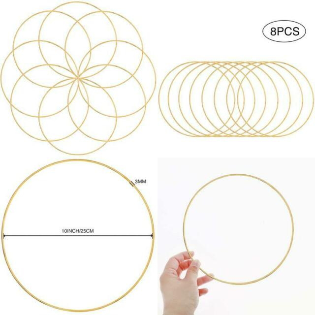 Outuxed 8pcs 10inch Metal Crafts Hoops Wreath Macrame Creations Ring for DIY Cra