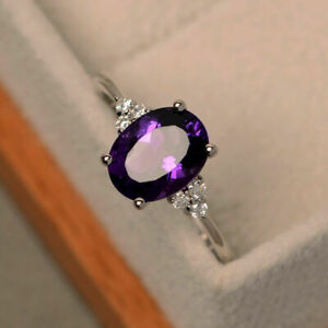 1.65 Ct Natural Diamond Oval Cut Amethyst Ring 14K Solid White Gold Size M N O J
