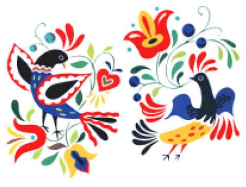 Vintage Image Shabby Retro Folk Art Birds Waterslide Decals MIS549