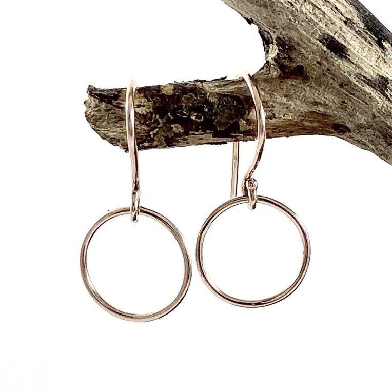 Solid 9ct 9k 375 pink Pink gold 10mm Circle Karma Hoop Disc Drop Earrings