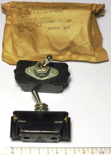 Switch levier goutte 2T 20A 250 V - Militaire US NOS NIB - FSN: 5930-246-1433