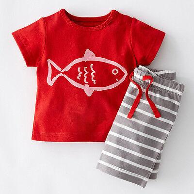 2pcs Newborn Baby Boys Kids Cool Outfits Cotton Tops T-shirt Pants set Suit 0~5T
