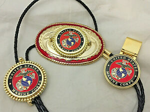 USMC-Marine-Corp-Gift-Set-Western-Belt-Buckle-Money-Clip-and-Bolo-Tie