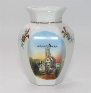 Schloss-Lichtenstein-antike-kleine-Vase-Porzellan-ca-1925-F865