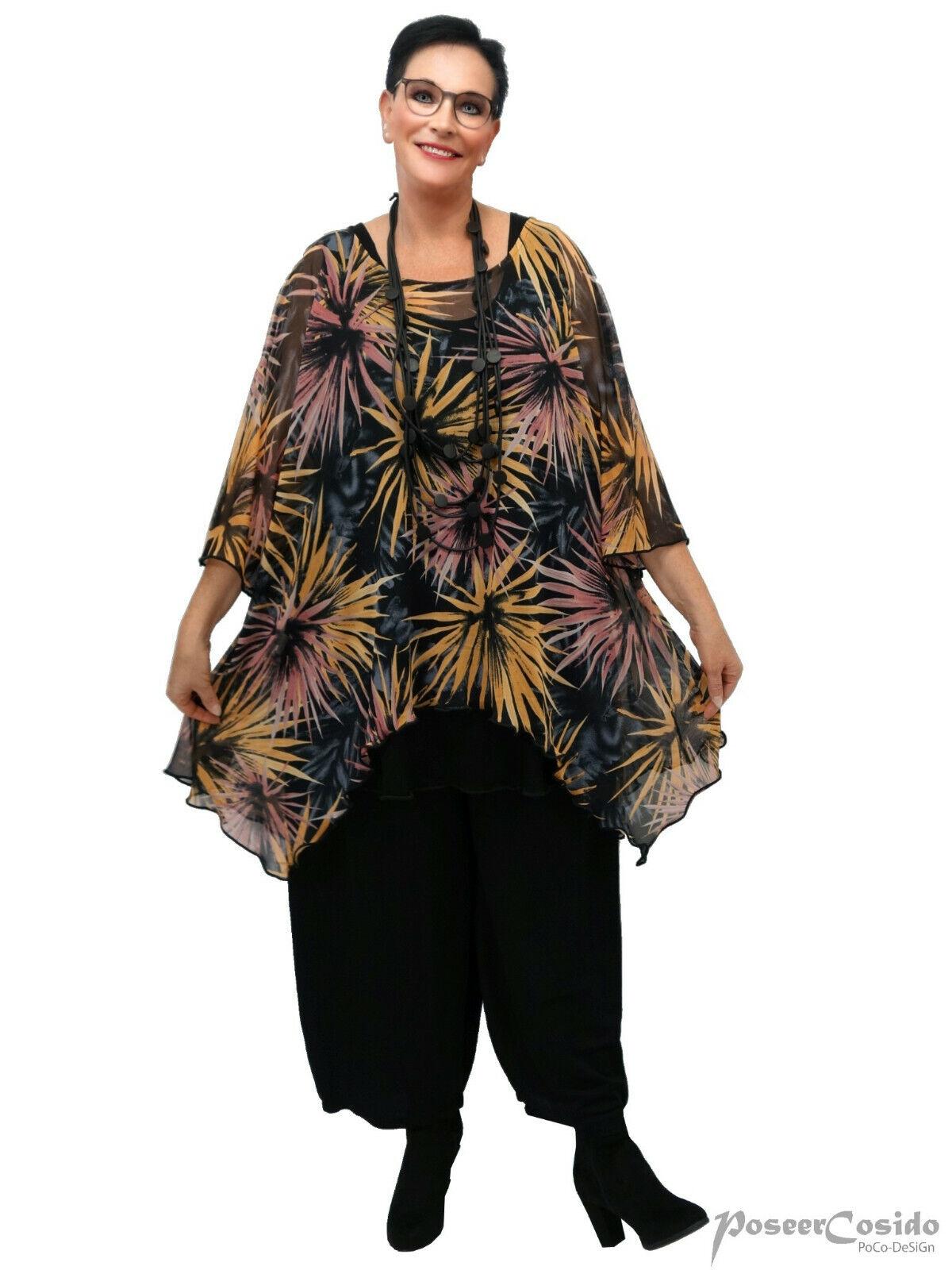 PoCo DeSiGn LAGENLOOK Netz Chenille Mesh Tunika Top-Shirt Überwurf L-XL-XXL-XXXL