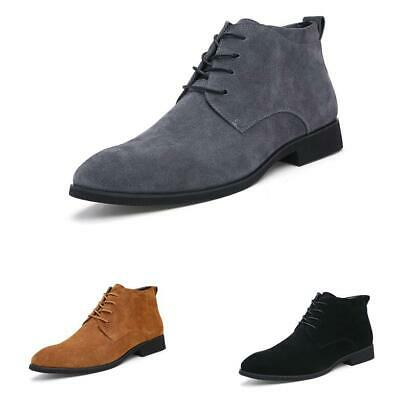 Mens High Top Work Ankle Boots Shoes Business Pointy Toe Polish Lace up Retro D