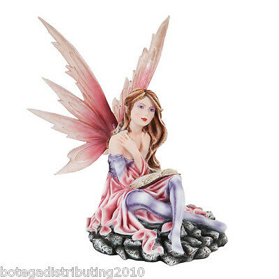 "12"" H Fairy Statue Reading Pondering Figurine Fairyland Legends Book Keeper"