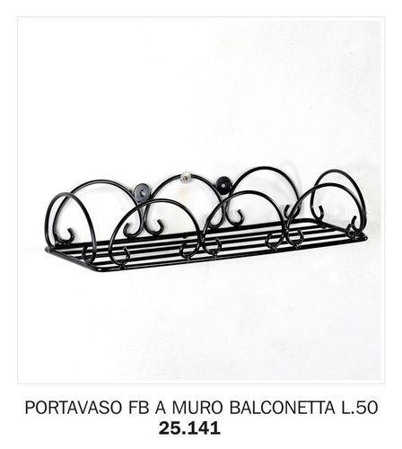 PORTAVASO FERRO BATTUTO A MURO BALCONETTA LUNGHEZZA 50 CM