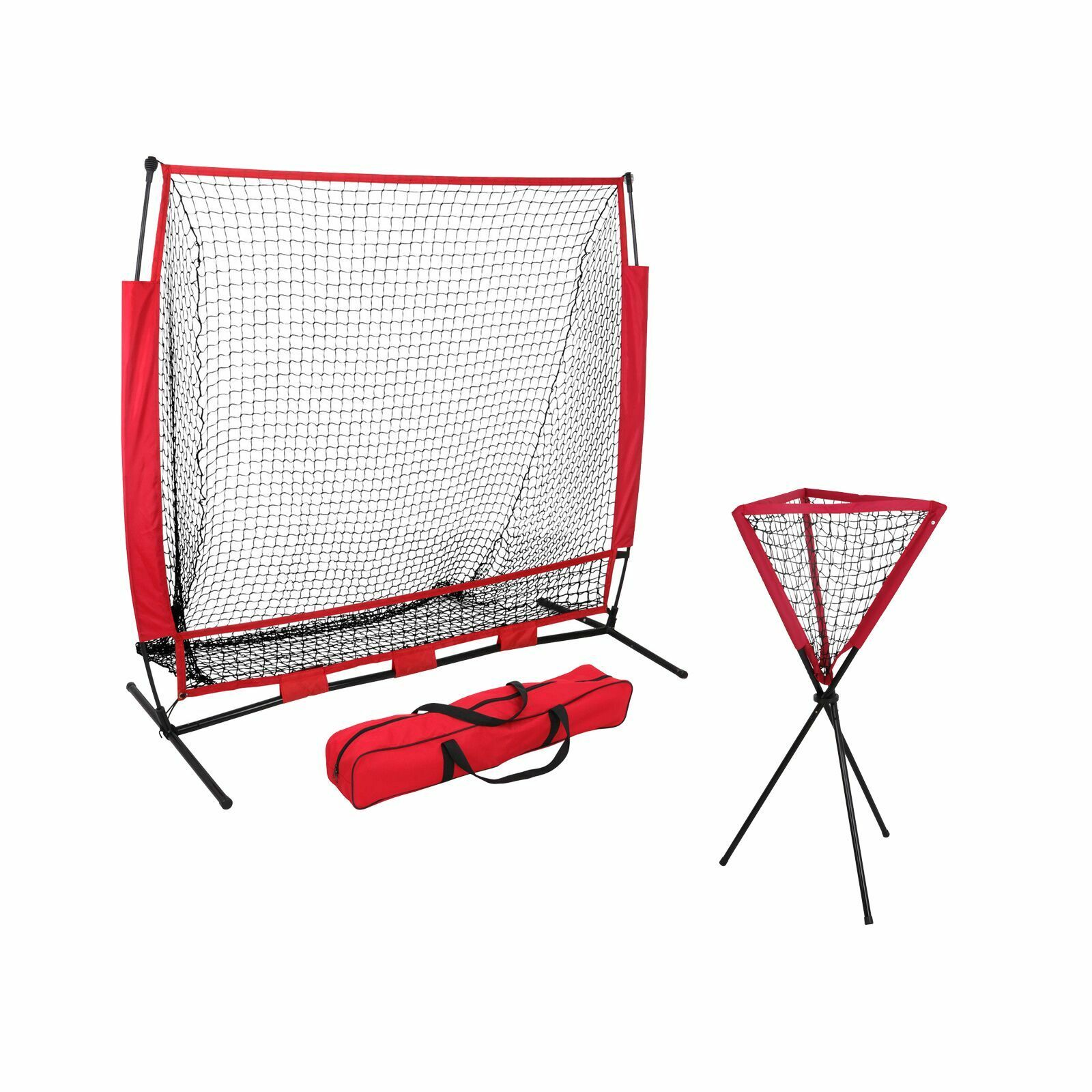 5x5 FT Portable Baseball Practice Hitting Training Net w  Bag +  Ball Caddy