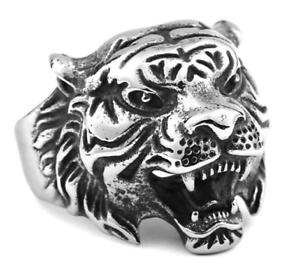 Anello-Tigre-Uomo-Acciaio-Inox-Fede-Massiccio-Donna-Unisex-Harley-Moto-Tiger