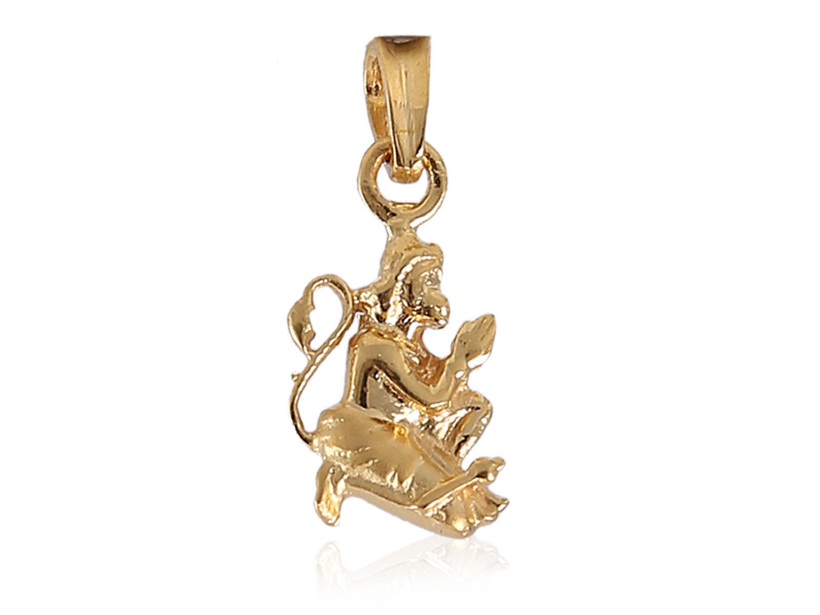 Vintage Handmade Unisex Hanuman Pendant In Solid Certified 22Karat Yellow gold