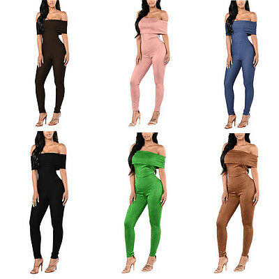 One Pieces Womens Sexy Strapless Word Collar Flounced Long Pants Jumpsuit Romper