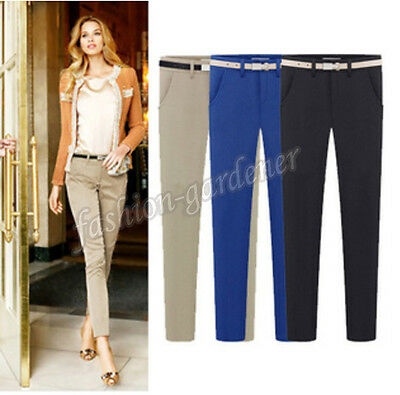 Trendy Women Fit Skinny Pencil Pants Business Casual Hin Thin Long Trousers