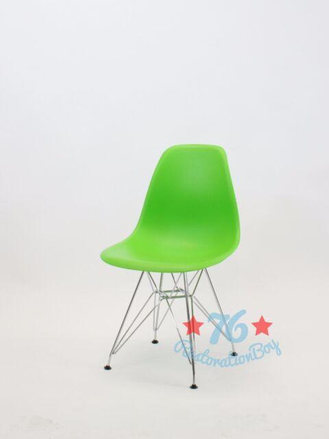 set of 2 dsw dsr molded abs side chair eiffel dowel leg metal wood.eames,esque