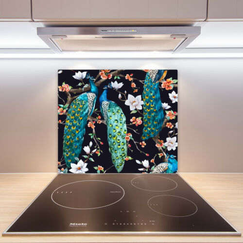Herdabdeckplatten aus Glas Spritzschutz Pfau 60x52 cm