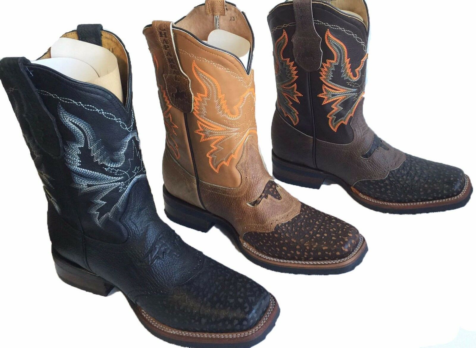 Men Genuine Cowhide Leather Western Cowboy square toe rodeo boots 69.99