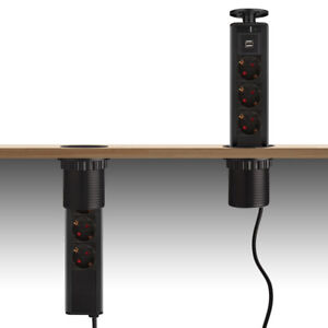 2 USB Schwarz Versenkbare Steckdose Steckdosenleiste Tischsteckdose 3er Stecker