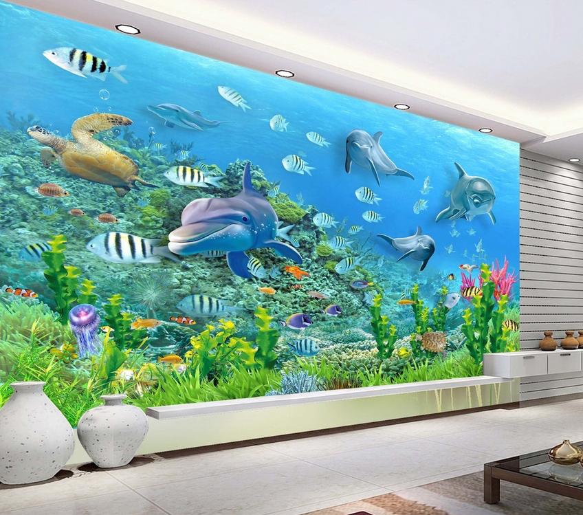 Papel Pintado Mural Tropical De Vellón Delfín De Peces Tropical Mural 23 Paisaje Fondo Pantalla 42089b