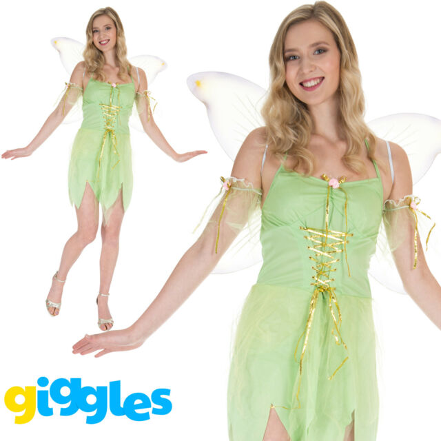 Tinkerbell Green Neverland Fairy Fairytale Book Day Womens Fancy Dress Costume
