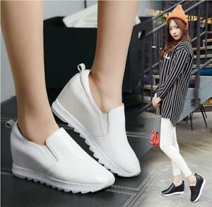 Women-039-s-Hidden-Wedge-Heel-Pumps-Casual-Fashion-Sneakers-Slip-On-Loafers-Shoes